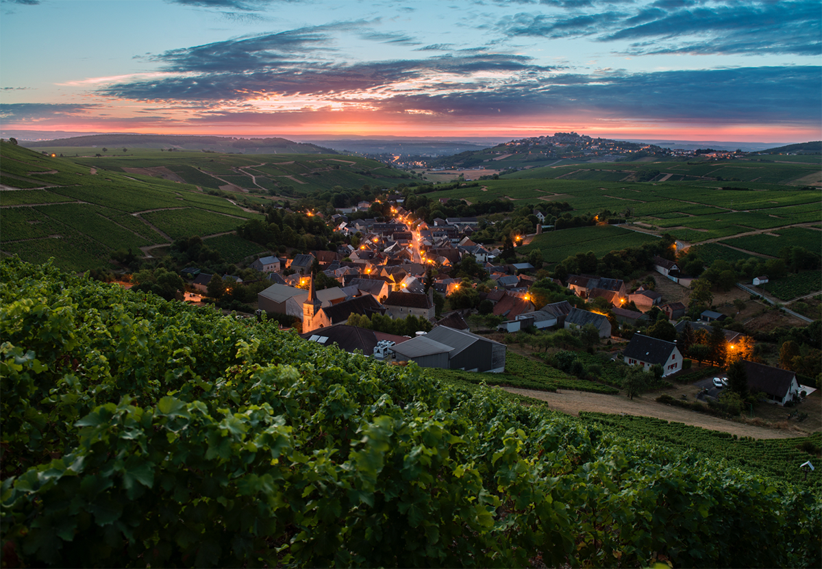 Chavignol by night: A view of the Bourgeois home village of Chavignol with the town of Sancerre in the back