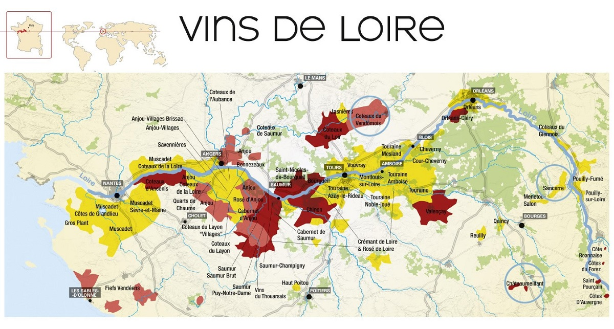 Loire Valley appellation map